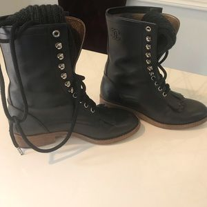 Authentic Chanel combat boots 37